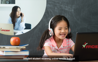 Afficient student receiving online remote support